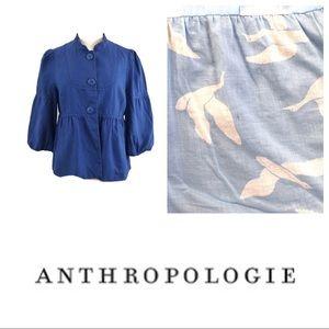 Anthropologie | Elevenses Blue Linen Jacket